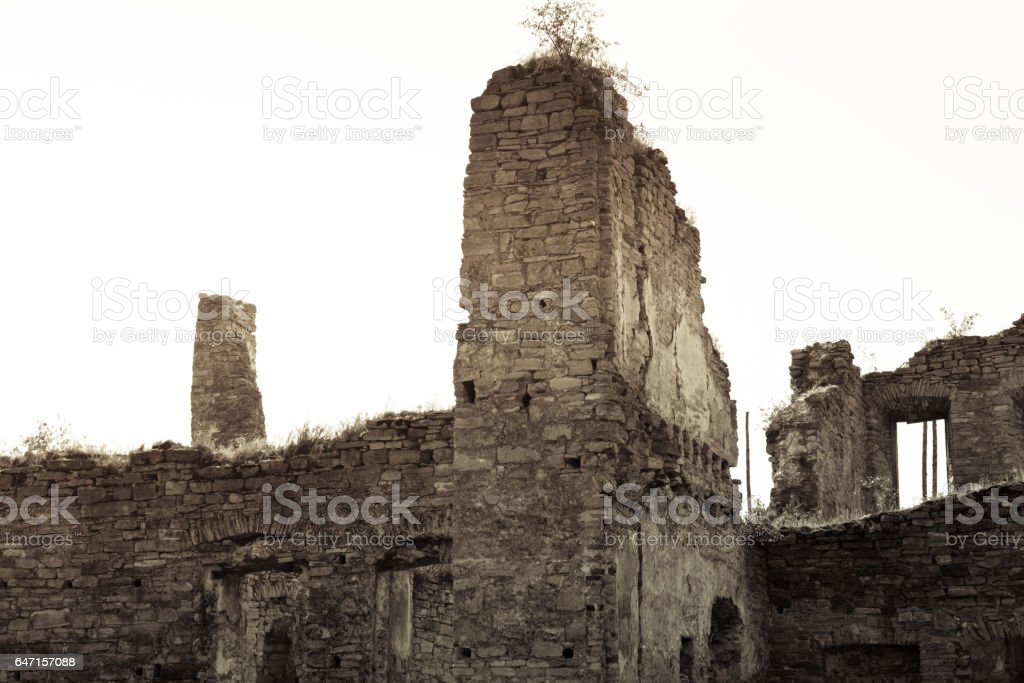 Ancient ruin in the village of Scala Podolsk, Ukraine stock photo