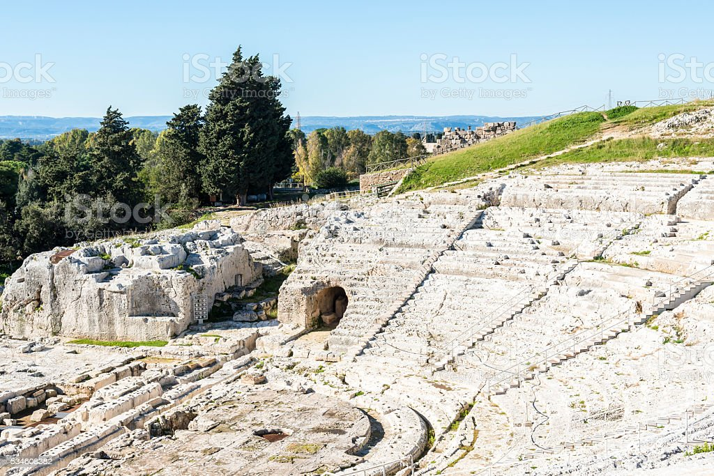 Ancient ruin of the Greek Theater in Syracuse. Sicily. Italy stock photo