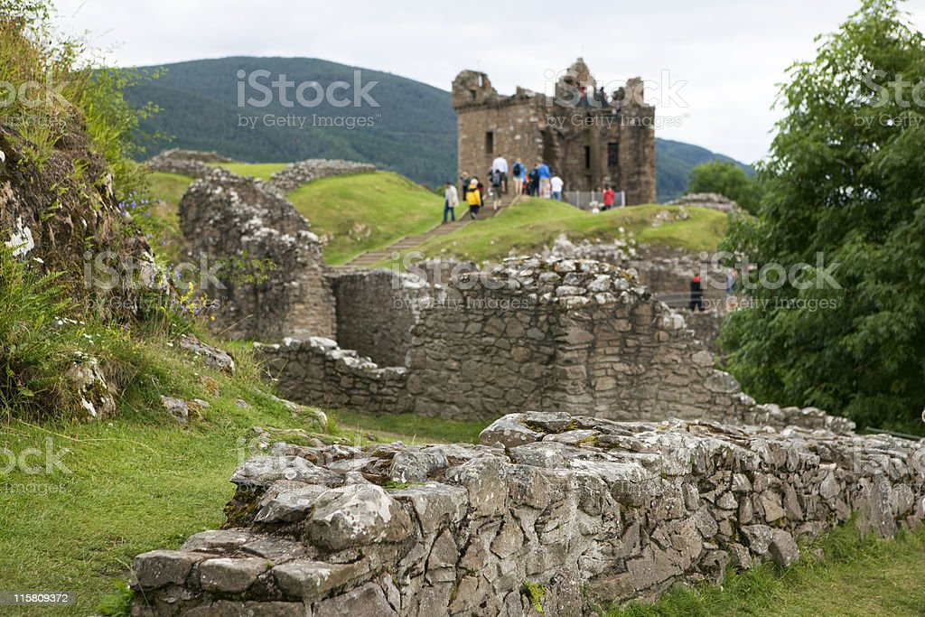ancient ruin of Urquhart castle in Scotland stock photo