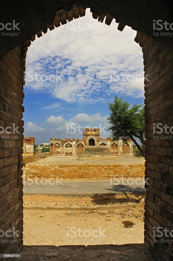 Ancient ruin Tomb through a window stock photo