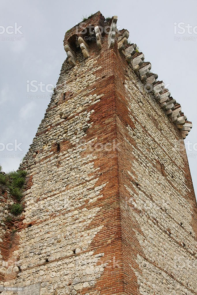 ancient ruined Tower of the medieval castle stock photo