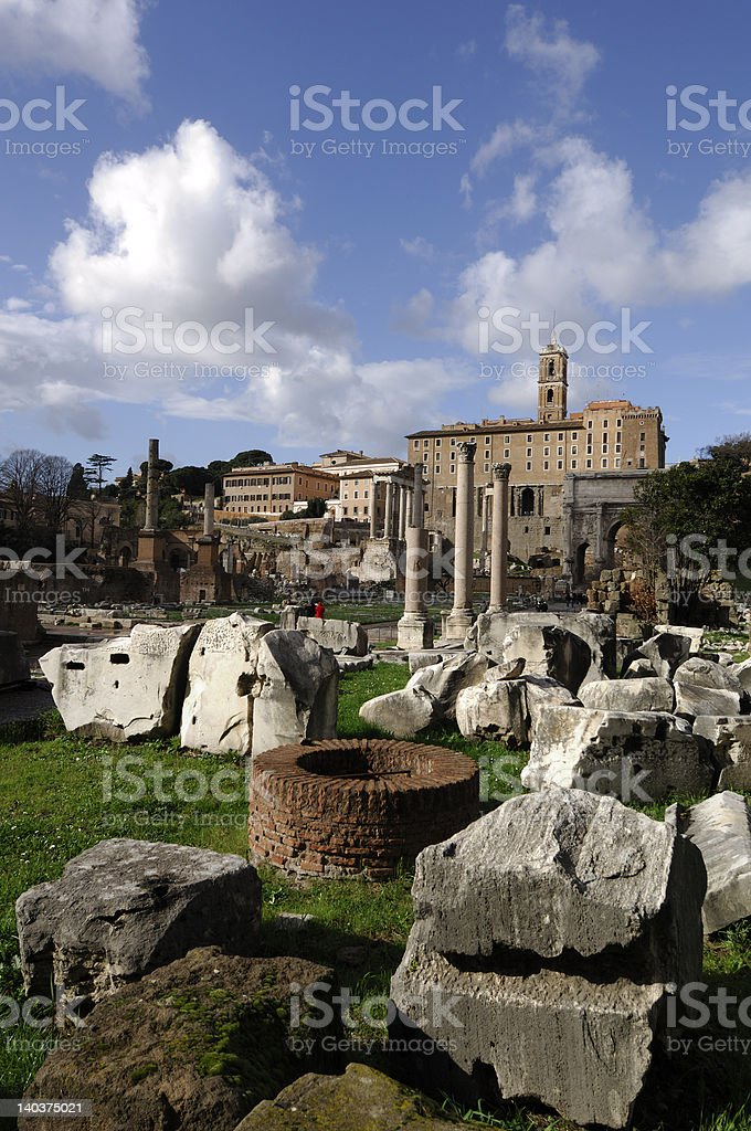 ancient ruines in Roman Forum royalty-free stock photo