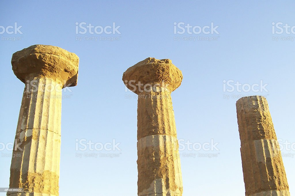 Ancient ruins and columns Greek temple Agrigento stock photo