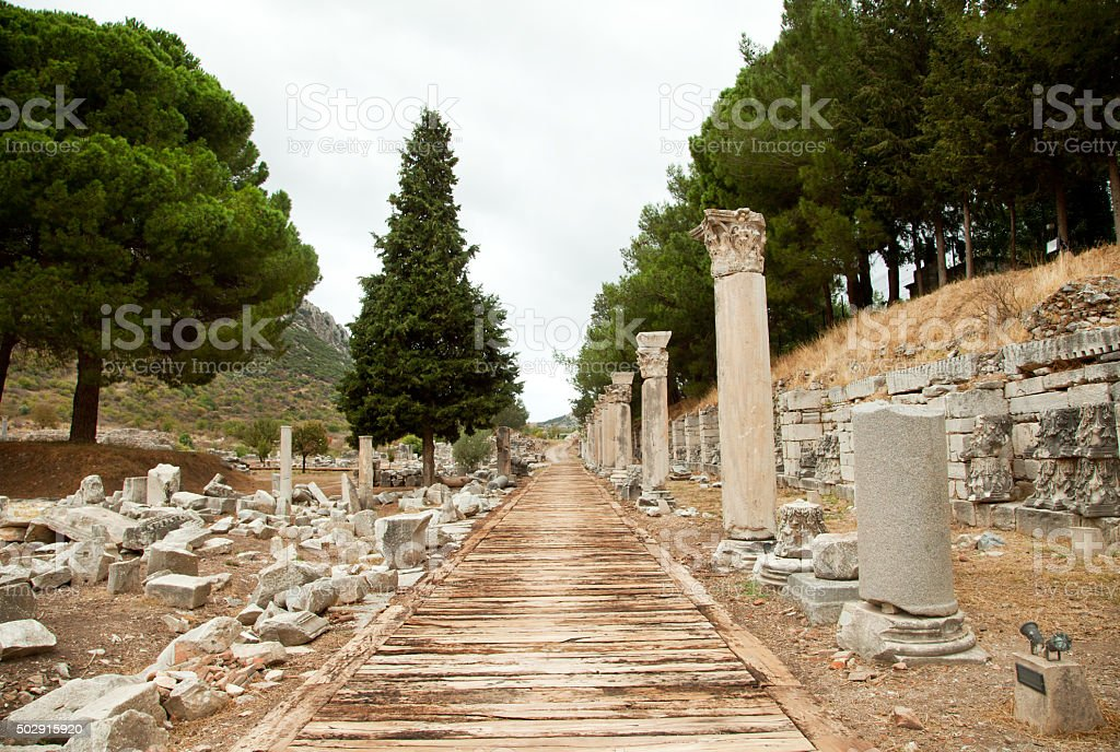 Ancient Ruins and Wooden path in Ephesus, Turkey stock photo