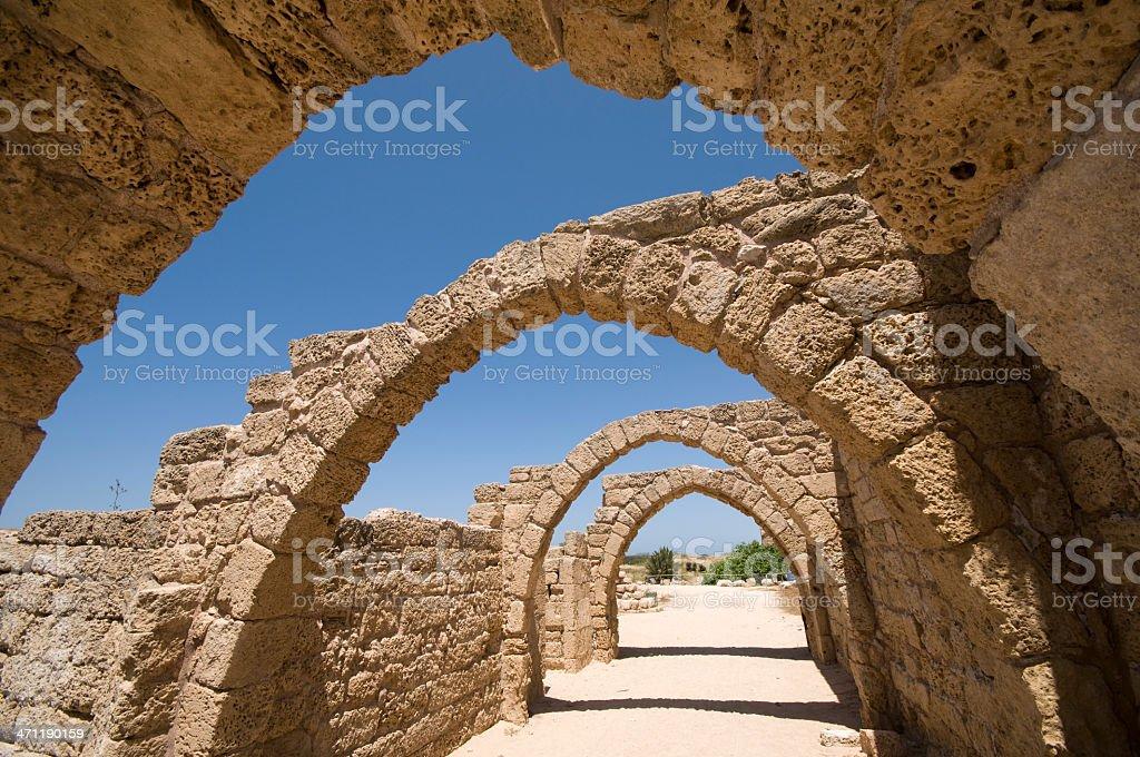 Ancient ruins at Caesarea, Israel stock photo
