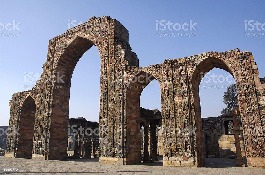Ancient ruins at Qutb Minar site stock photo