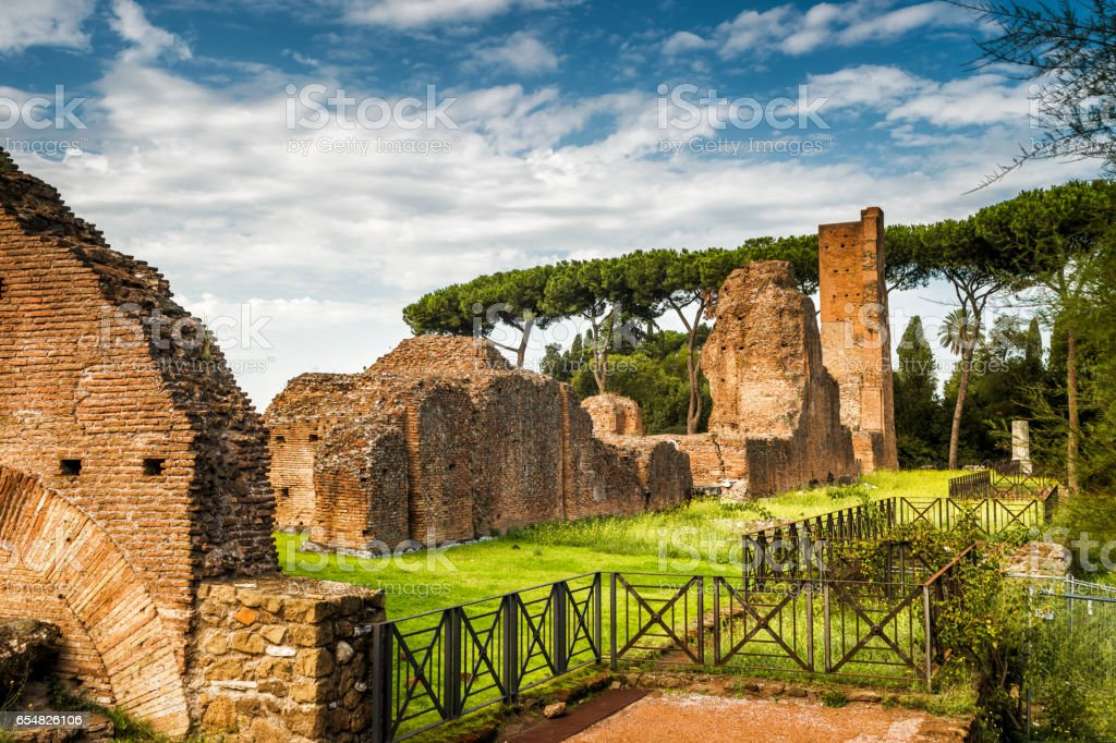 Ancient ruins at the Palatine Hill in Rome stock photo