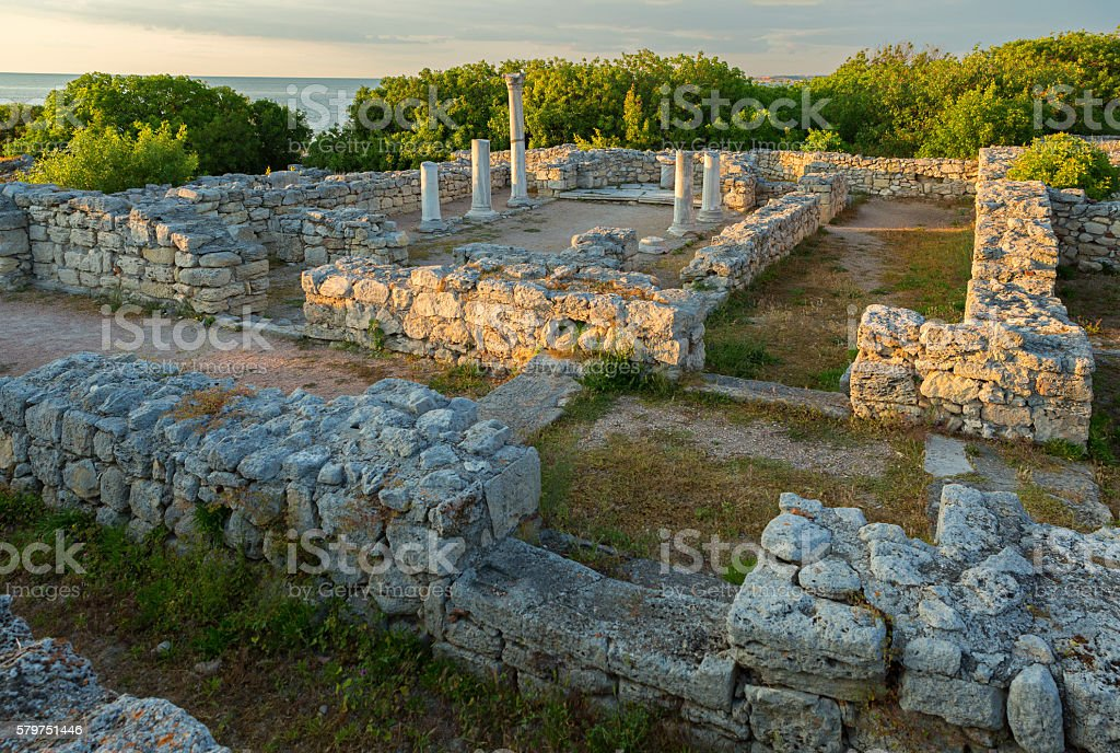 Ancient ruins Chersonesus Taurica in the rays of setting sun. stock photo