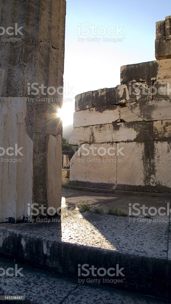 Ancient ruins in Delphi royalty-free stock photo