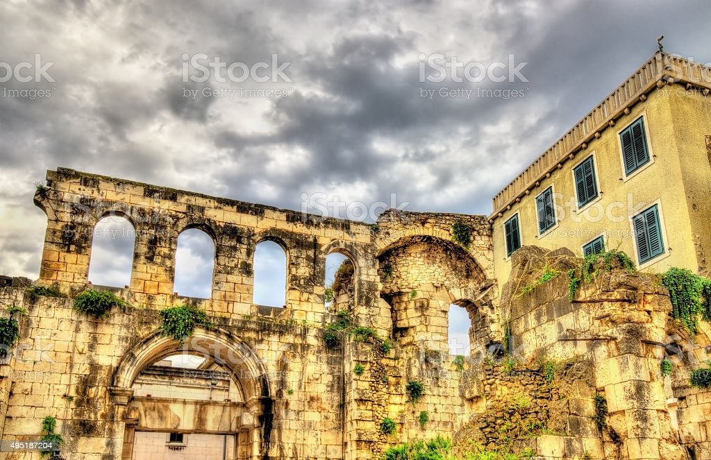 Ancient ruins in Diocletian Palace - Split, Croatia stock photo