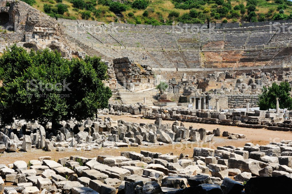 Ancient ruins in Ephesus,Turkey. stock photo