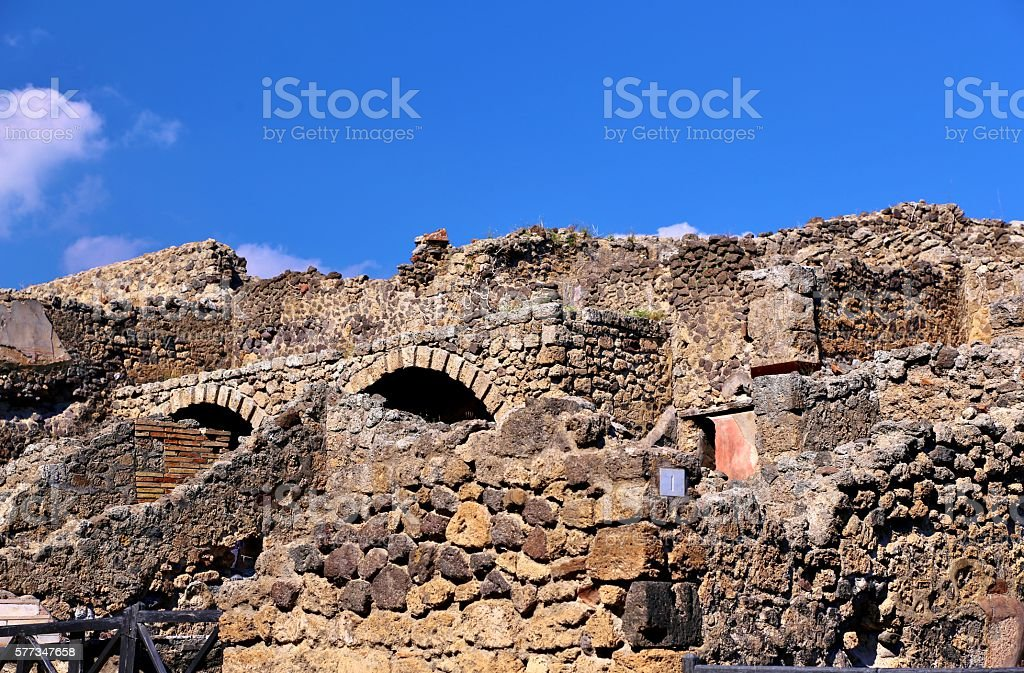 Ancient Ruins In Pompei, Italy stock photo