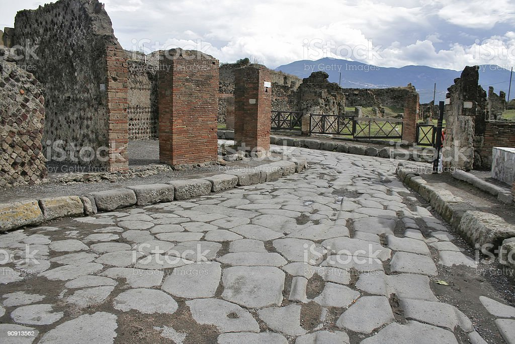 Ancient ruins in Pompeii royalty-free stock photo