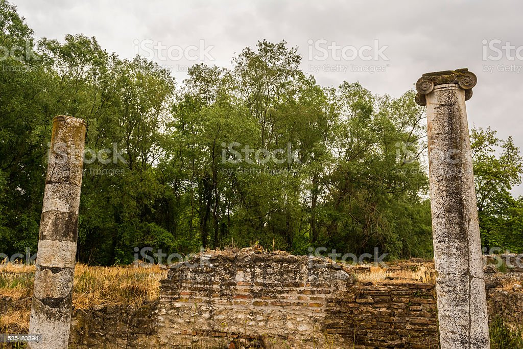 Ancient ruins in the Dion Archaeological Site at Greece stock photo