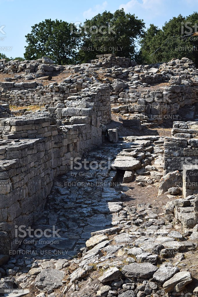 Ancient ruins in Troy stock photo