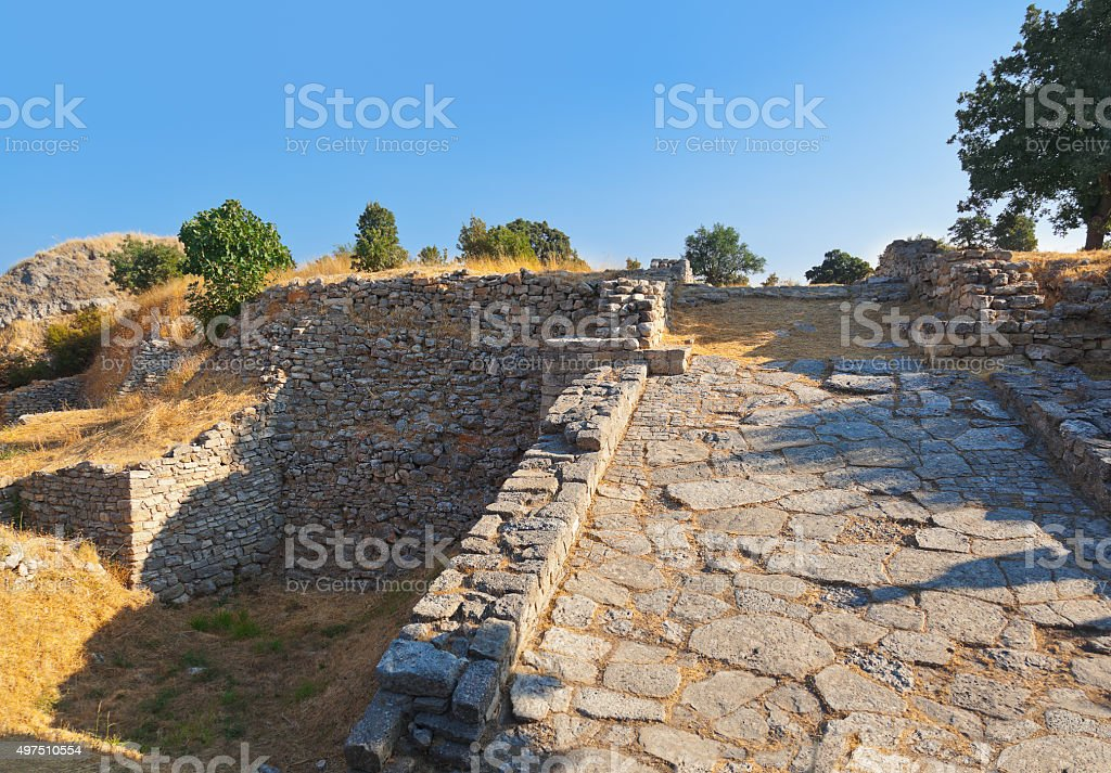 Ancient ruins in Troy Turkey stock photo