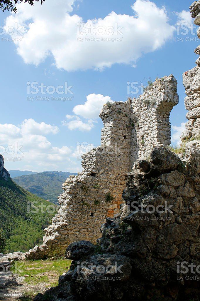 ancient ruins of a castle stock photo