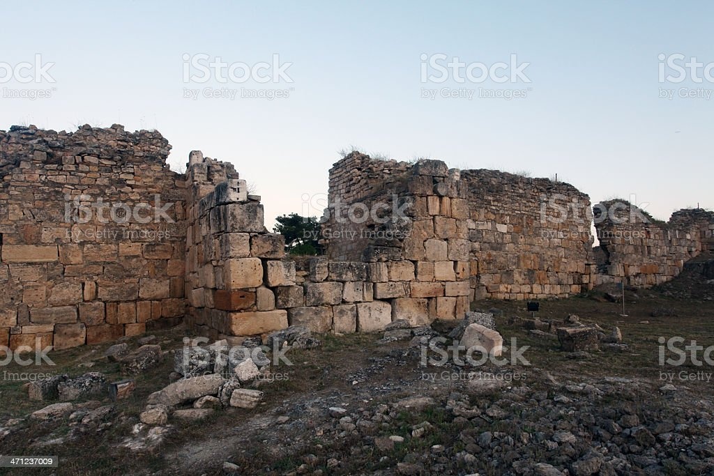 Ancient ruins of a wall stock photo