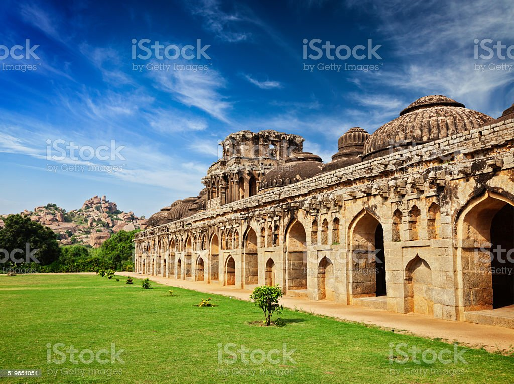 Ancient ruins of Elephant Stables stock photo