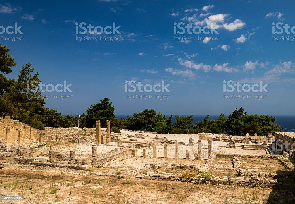 Ancient ruins of Kamiros on Rhodes stock photo