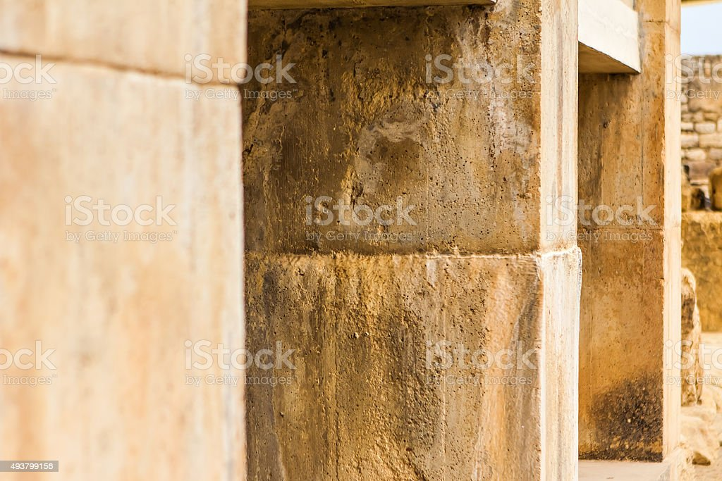 Ancient ruins of Knossos palace, largest Bronze Age archaeological site stock photo