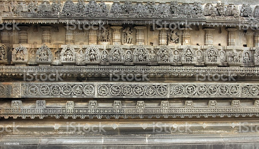 ancient ruins of layered carvings on belur temple royalty-free stock photo