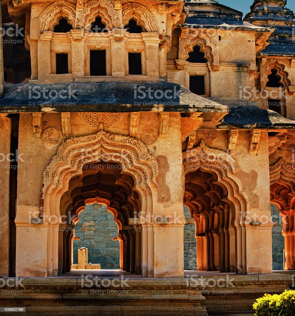 Ancient ruins of Lotus Temple, Royal Centre, Hampi, Karnataka, India stock photo