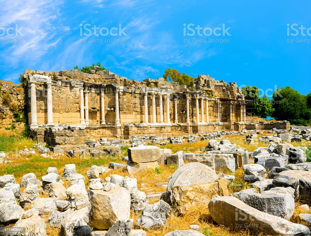 ancient ruins of Nymphaeum fountain Roman Empire, Side, Turkey, stock photo