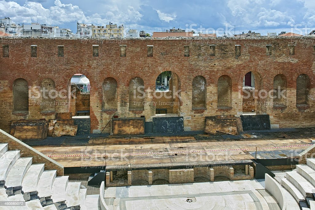 ancient ruins of Roman Odeon, Patras stock photo