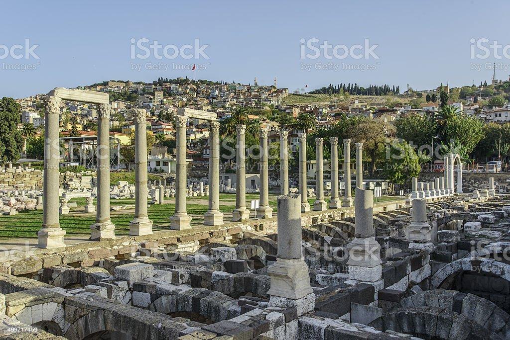 Ancient ruins of Smyrna in Izmir, Turkey stock photo