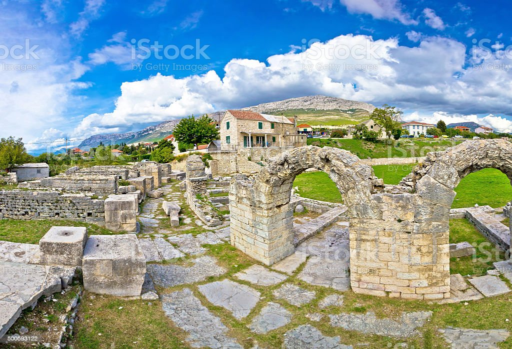 Ancient ruins of Solin view stock photo