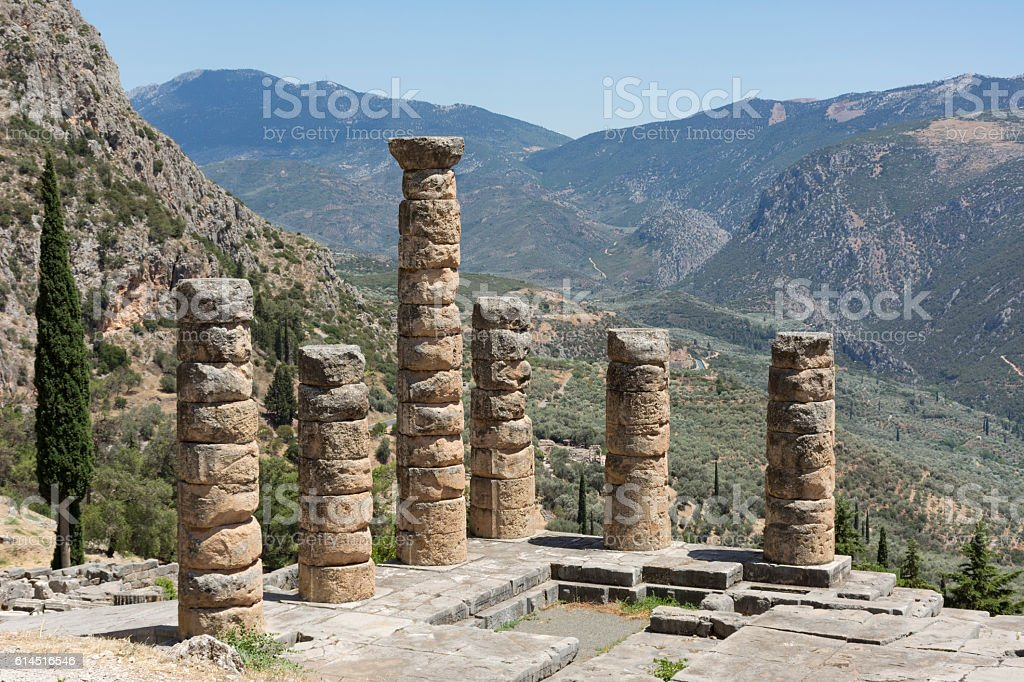 ancient ruins of the temple of Apollo in Delphi, Greec stock photo