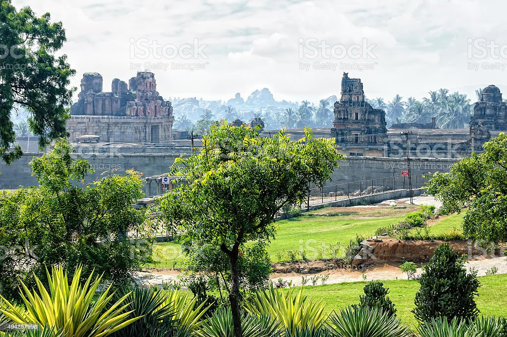 Ancient ruins of Vijayanagara Empire in Hampi, Karnataka, India. stock photo