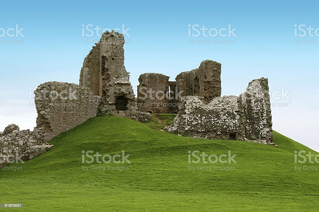ancient ruins on a green hill royalty-free stock photo