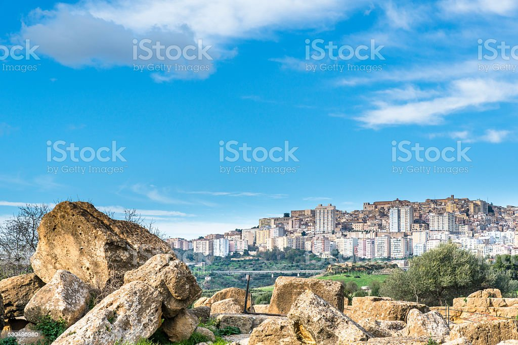Ancient ruins on archaeological area of Agrigento. Sicily. Italy. stock photo
