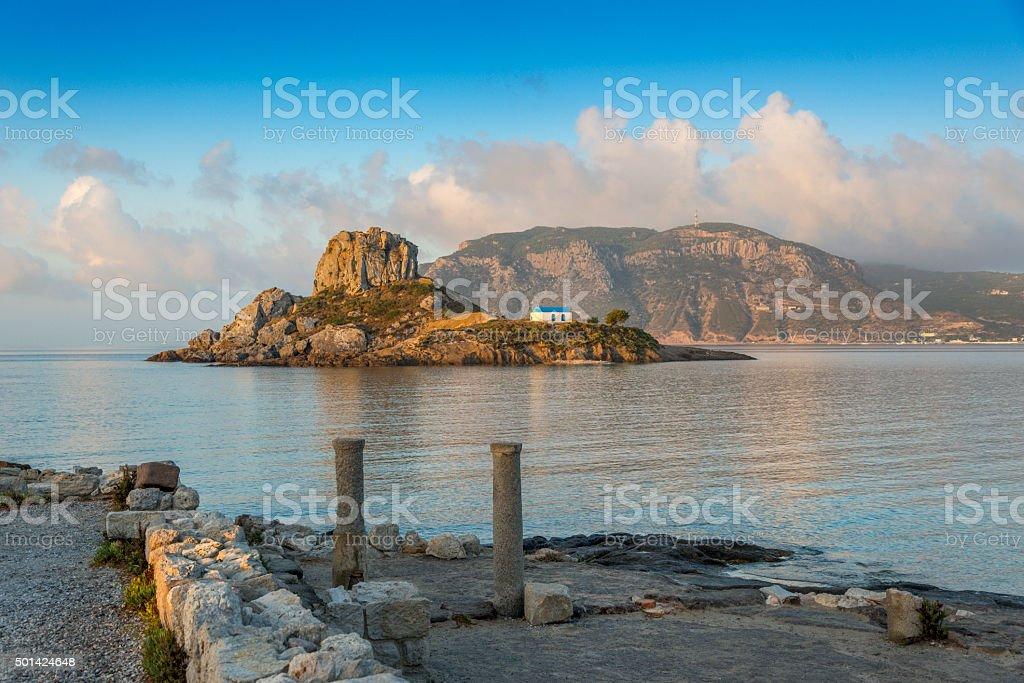 Ancient ruins on Kos, in the back  island Kastri, Greece stock photo