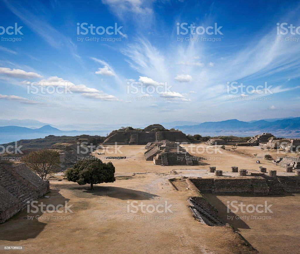 Ancient ruins on plateau Monte Alban in Mexico stock photo