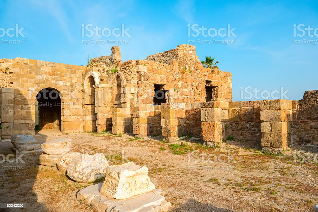 ancient ruins Roman Empire, Side, Turkey, archeology background stock photo