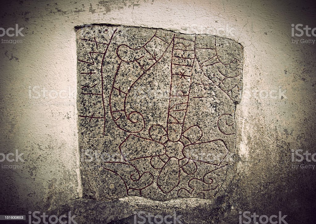 Ancient rune stone royalty-free stock photo