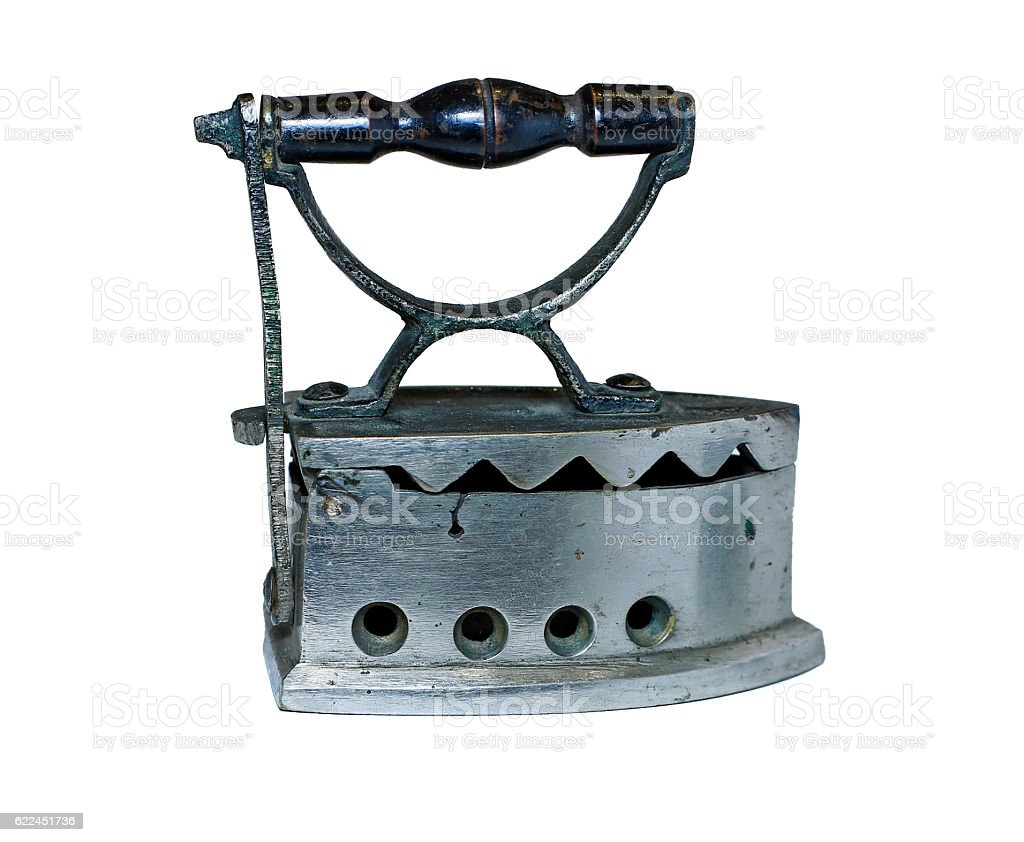 Ancient Russian coal-fired iron isolated stock photo