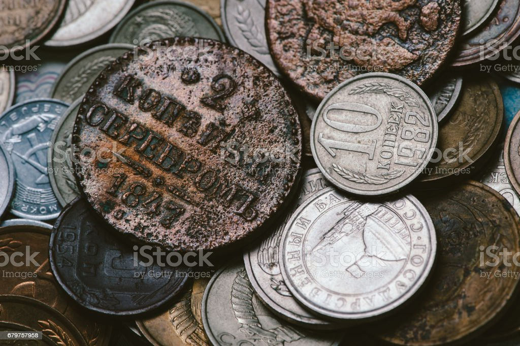 Ancient Russian coins stock photo