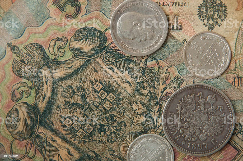ancient Russian, silver coins ,old banknotes  wallpapers with old money stock photo