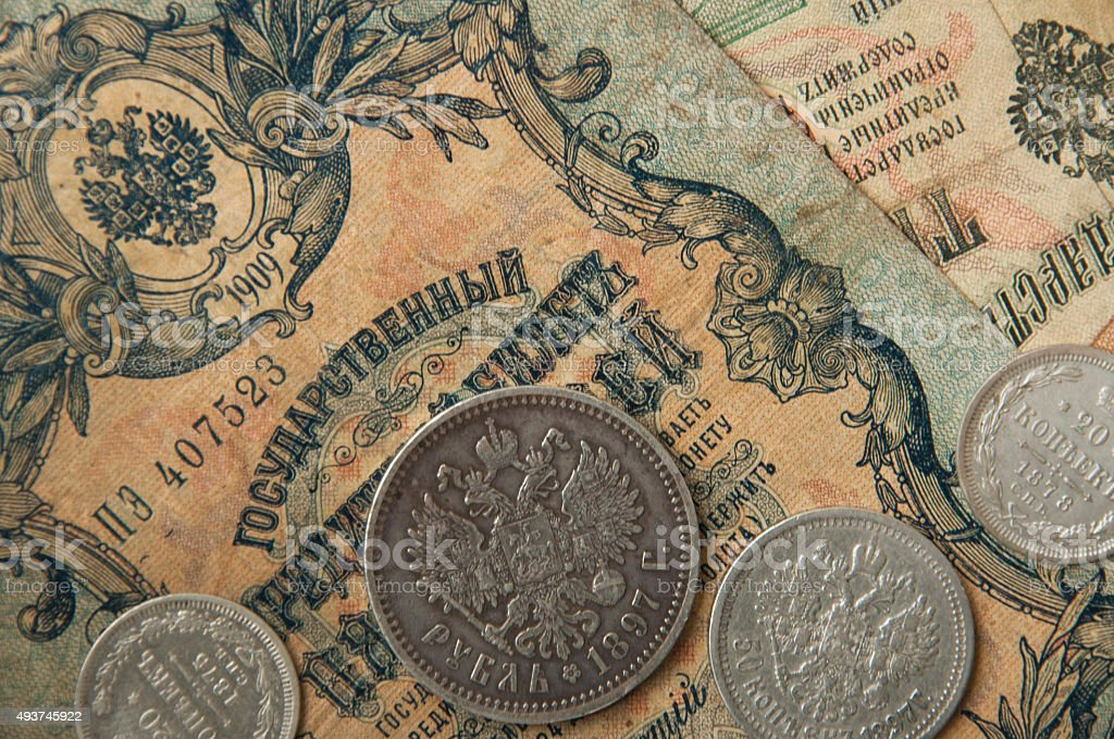 ancient Russian, silver coins , old banknotes  wallpapers with old money stock photo