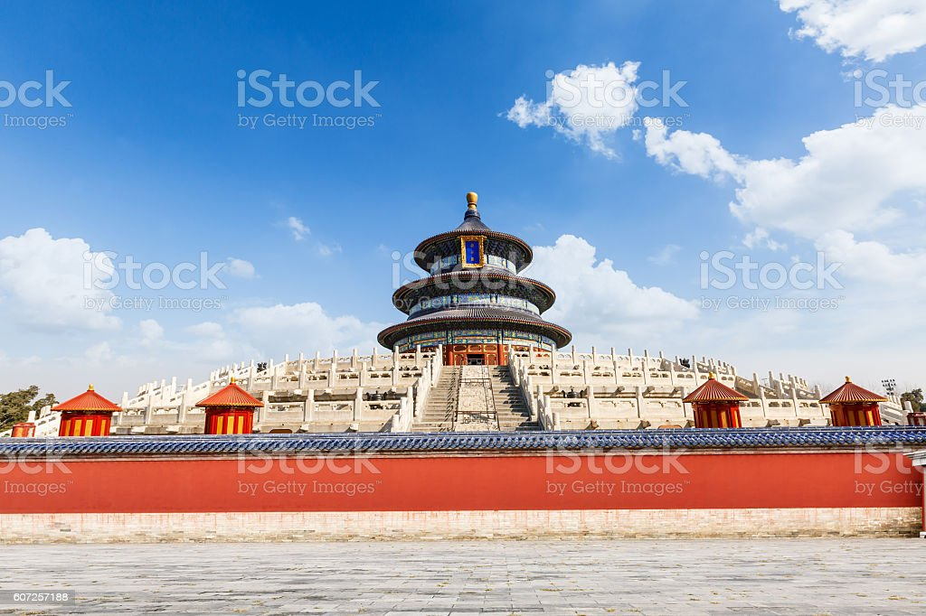 Ancient sacrificial temple scenery,Temple of Heaven in Beijing,China stock photo