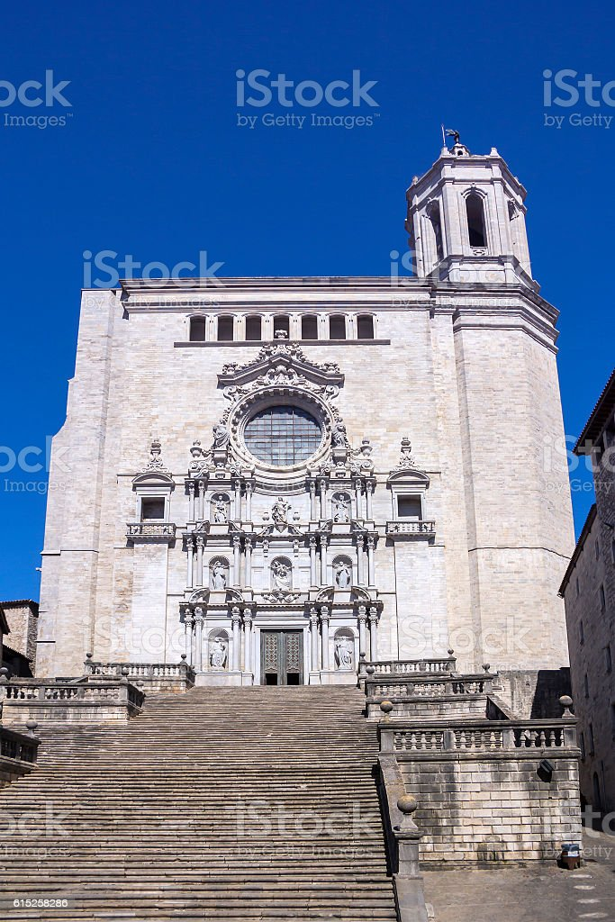 Ancient Saint Mary Cathedral of Girona in Catalonia in Spain stock photo