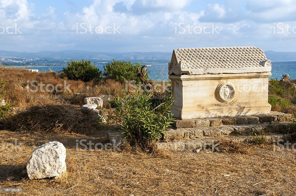 Ancient sarcophagus and sea in Tyre, Lebanon royalty-free stock photo
