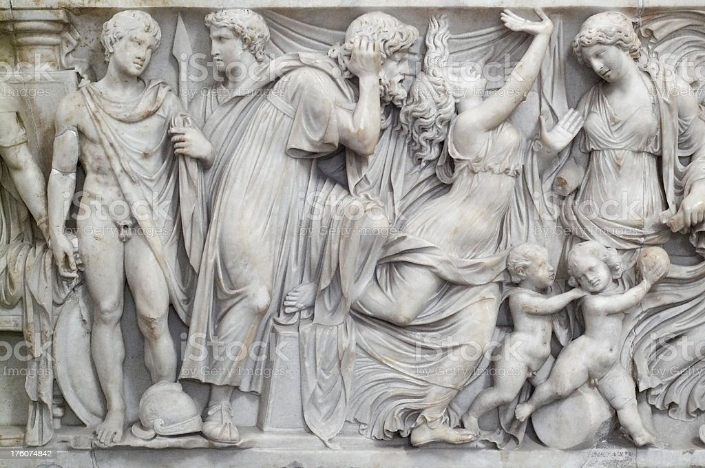 Ancient scene, carved on marble stock photo