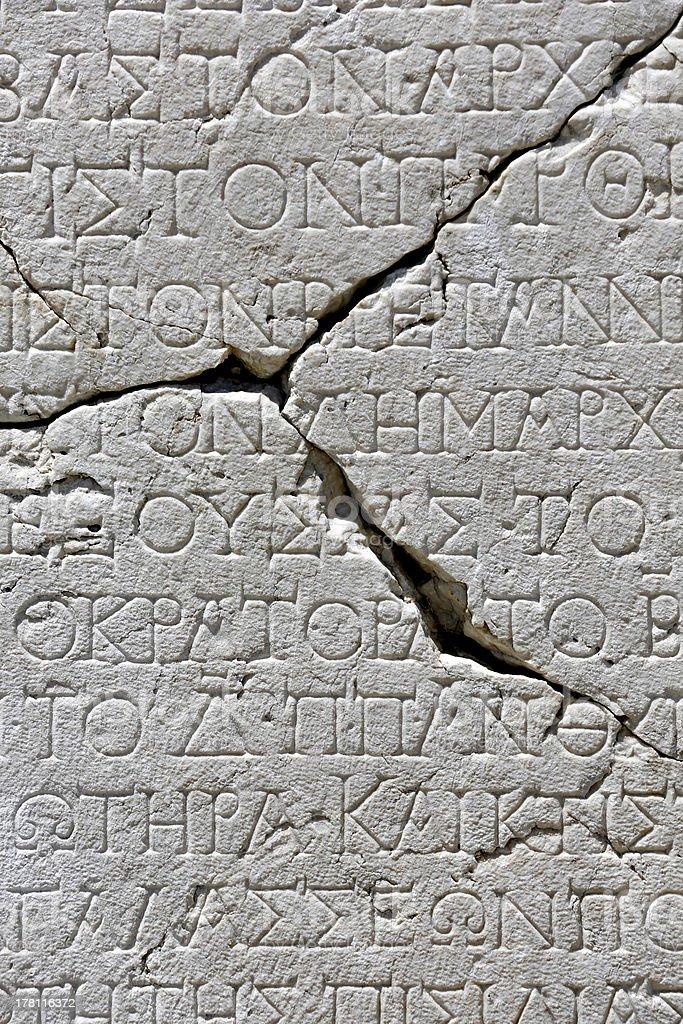 Ancient script on marble tablet in Sagalassos, Isparta, Turkey royalty-free stock photo
