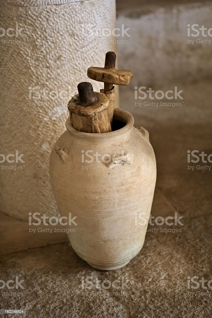 Ancient Scrolls in Clay Jar stock photo