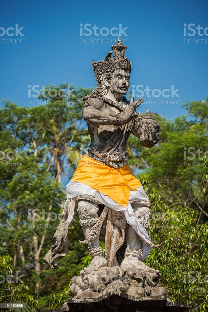 Ancient sculpture in Tirta Empul temple Bali ,Indonesia. stock photo